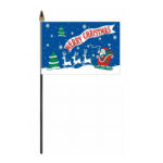 Merry Christmas Blue Hand Flag - Small